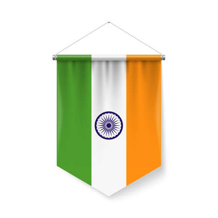 Vertical Pennant Flag of India as Icon on White with Shadow Effects. Patriotic Sign in Official Color and Flower Indian Flag with Metallic Poles Hanging on the Rope Ilustração