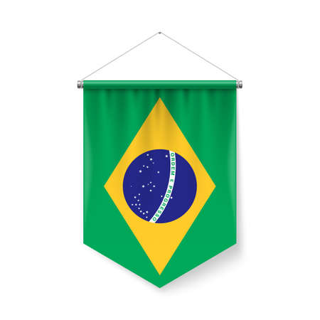 Vertical Pennant Flag of Brazilas Icon on White with Shadow Effects. Patriotic Sign in Official Color and Flower Brazilian Flag with Metallic Poles Hanging on the Rope