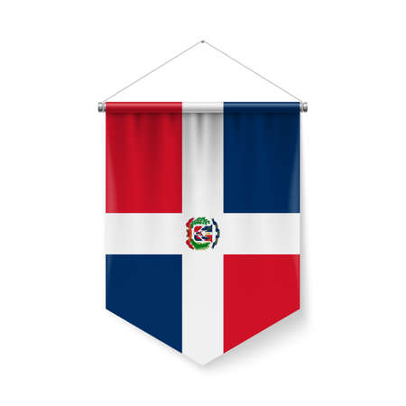 Vertical Pennant Flag of Dominican Republic as Icon on White with Shadow Effects. Patriotic Sign in Official Color and Flower Flag with Metallic Poles Hanging on the Rope design