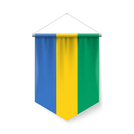 Vertical Pennant Flag of Gabon as Icon on White with Shadow Effects. Patriotic Sign in Official Color and Flower Gabonese Flag with Metallic Poles Hanging on the Rope