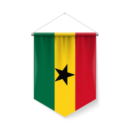 Vertical Pennant Flag of Ghana as Icon on White with Shadow Effects. Patriotic Sign in Official Color and Flower Ghanaian Flag with Metallic Poles Hanging on the Rope
