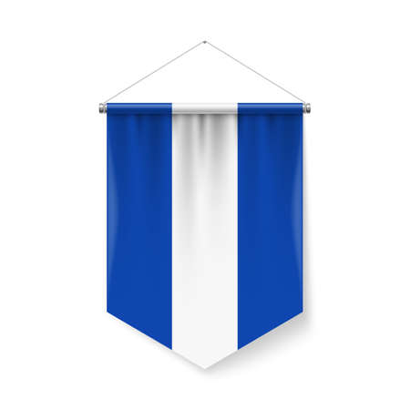 Vertical Pennant Flag of El Salvadoras Icon on White with Shadow Effects. Patriotic Sign in Official Color and Flower Salvadoran Flag with Metallic Poles Hanging on the Rope