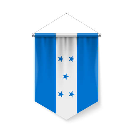 Vertical Pennant Flag of Honduras as Icon on White with Shadow Effects. Patriotic Sign in Official Color and Flower Honduran Flag with Metallic Poles Hanging on the Rope Vectores
