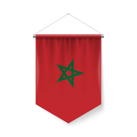 Vertical Pennant Flag of Morocco as Icon on White with Shadow Effects. Patriotic Sign in Official Color and Flower Moroccan Flag with Metallic Poles Hanging on the Rope Ilustração