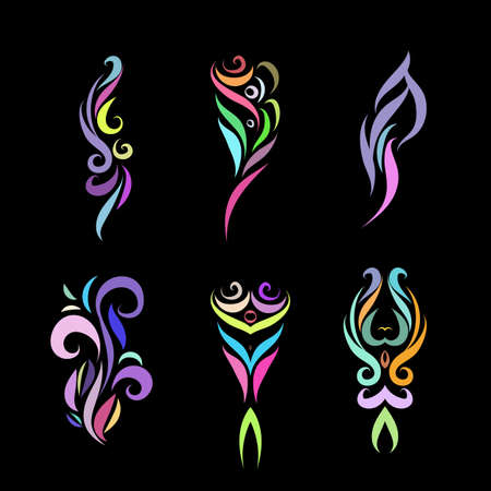 Set of Color Tattoo Tribal Design. Simple Logo Template. Individual Designer Isolated Element for Decorating the Body of Women, Men and Girls Arm, Leg and Other Body Parts on Black