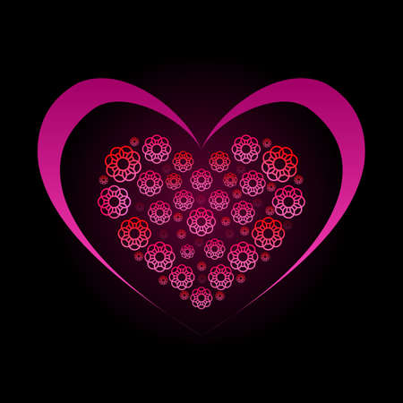 Flowers in the Form of a Heart. Illustration on Black Background