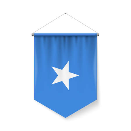 Vertical Pennant Flag of Somalia as Icon on White with Shadow Effects. Patriotic Sign in Official Color and Flower Somalian Flag with Metallic Poles Hanging on the Rope Ilustração