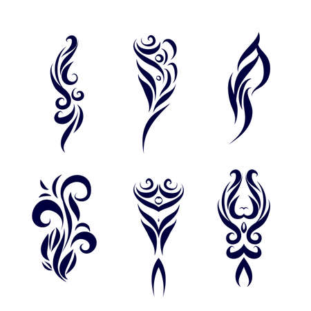 Set of Tattoo Tribal Design. Simple Logo Template. Individual Designer Isolated Element for Decorating the Body of Women, Men and Girls Arm, Leg and Other Body Parts. Abstract illustration on White Ilustração