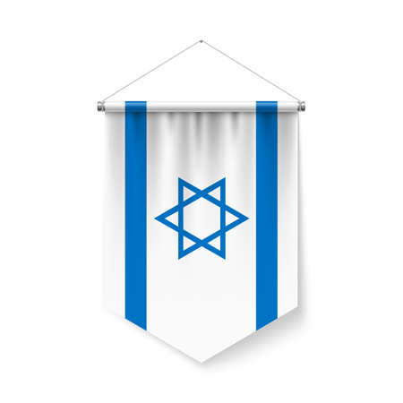 Vertical Pennant Flag of Israel as Icon on White with Shadow Effects. Patriotic Sign in Official Color and Flower Israeli Flag with Metallic Poles Hanging on the Rope Ilustração
