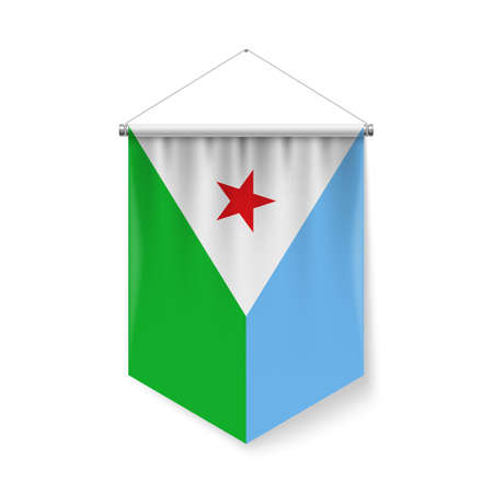 Vertical Pennant Flag of Djibouti as Icon on White with Shadow Effects. Patriotic Sign in Official Color and Flower Djiboutian Flag with Metallic Poles Hanging on the Rope Ilustração