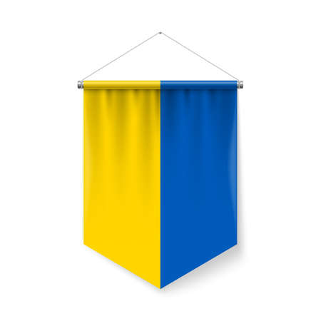 Vertical Pennant Flag of Ukraine as Icon on White with Shadow Effects. Patriotic Sign in Official Color and Flower Ukrainian Flag with Metallic Poles Hanging on the Rope Ilustração