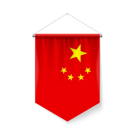Vertical Pennant Flag of China as Icon on White with Shadow Effects. Patriotic Sign in Official Color and Flower Chinese Flag with Metallic Poles Hanging on the Rope