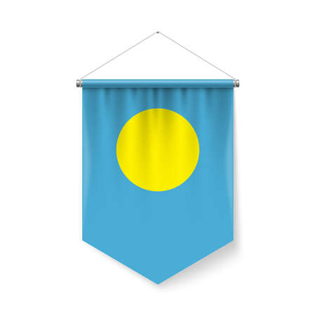 Vertical Pennant Flag of Palau as Icon on White with Shadow Effects. Patriotic Sign in Official Color and Flower Palauan Flag with Metallic Poles Hanging on the Rope Ilustração