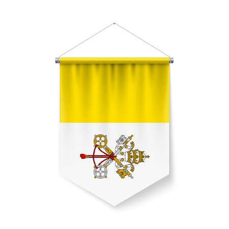 Vertical Pennant Flag of Vatican City as Icon on White with Shadow Effects. Patriotic Sign in Official Color and Flower Flag with Metallic Poles Hanging on the Rope design Ilustração