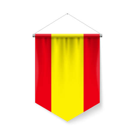 Vertical Pennant Flag of Spain as Icon on White with Shadow Effects. Patriotic Sign in Official Color and Flower Spanish Flag with Metallic Poles Hanging on the Rope