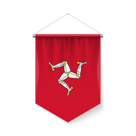 Vertical Pennant Flag of Isle of Man as Icon on White with Shadow Effects. Patriotic Sign in Official Color and Flower Flag with Metallic Poles Hanging on the Rope design Ilustração