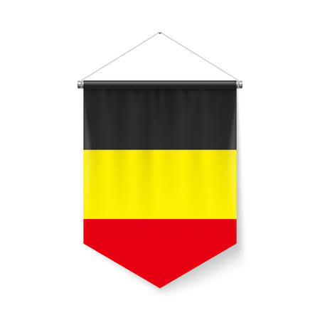 Vertical Pennant Flag of Belgium as Icon on White with Shadow Effects. Patriotic Sign in Official Color and Flower Belgian Flag with Metallic Poles Hanging on the Rope Ilustração