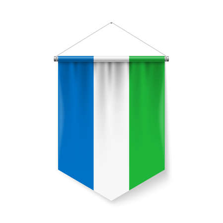 Vertical Pennant Flag of Sierra Leone as Icon on White with Shadow Effects. Patriotic Sign in Official Color and Flower Flag with Metallic Poles Hanging on the Rope colors