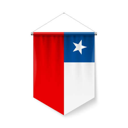 Vertical Pennant Flag of Chile as Icon on White with Shadow Effects. Patriotic Sign in Official Color and Flower Chilean Flag with Metallic Poles Hanging on the Rope Ilustração