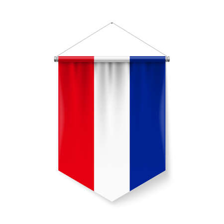 Vertical Pennant Flag of Yugoslavia as Icon on White with Shadow Effects. Patriotic Sign in Official Color and Flower Yugoslavian Flag with Metallic Poles Hanging on the Rope