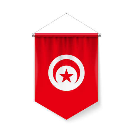Vertical Pennant Flag of Tunisia as Icon on White with Shadow Effects. Patriotic Sign in Official Color and Flower Tunisian Flag with Metallic Poles Hanging on the Rope