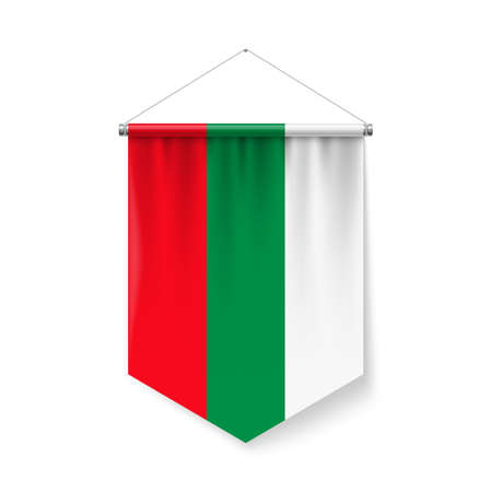 Vertical Pennant Flag of Bulgaria as Icon on White with Shadow Effects. Patriotic Sign in Official Color and Flower Bulgarian Flag with Metallic Poles Hanging on the Rope