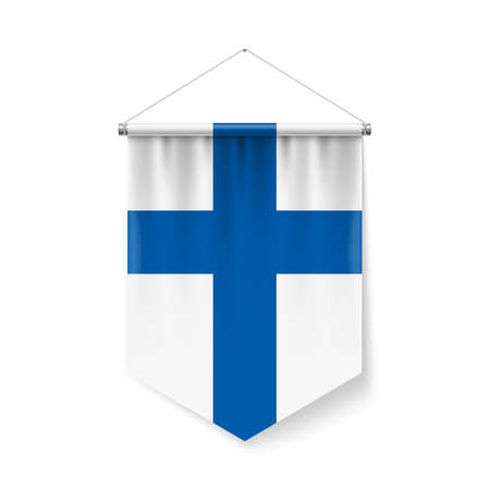 Vertical Pennant Flag of Finland as Icon on White with Shadow Effects. Patriotic Sign in Official Color and Flower Finland Flag with Metallic Poles Hanging on the Rope