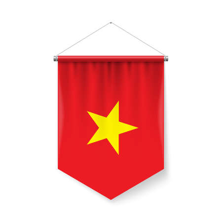 Vertical Pennant Flag of Vietnam as Icon on White with Shadow Effects. Patriotic Sign in Official Color and Flower Vietnam Flag with Metallic Poles Hanging on the Rope Ilustração