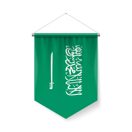 Vertical Pennant Flag of Saudi Arabia as Icon on White with Shadow Effects. Patriotic Sign in Official Color and Flower Flag with Metallic Poles Hanging on the Rope design