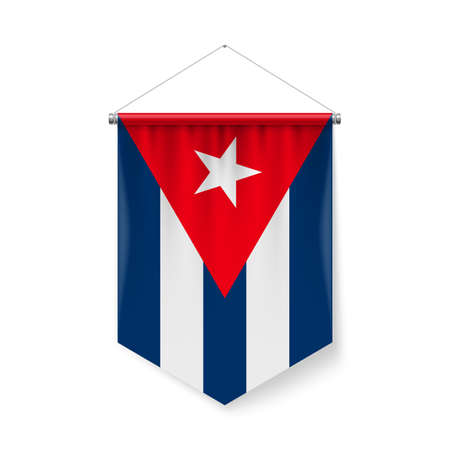 Vertical Pennant Flag of Cuba as Icon on White with Shadow Effects. Patriotic Sign in Official Color and Flower Cuban Flag with Metallic Poles Hanging on the Rope