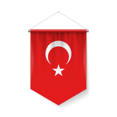 Vertical Pennant Flag of Turkey as Icon on White with Shadow Effects. Patriotic Sign in Official Color and Flower Turkish Flag with Metallic Poles Hanging on the Rope