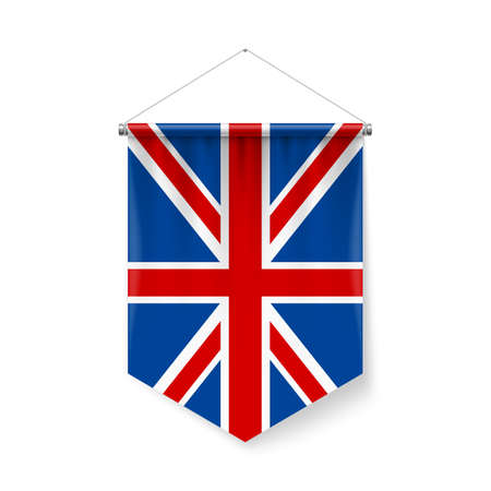 Vertical Pennant Flag of Great Britain as Icon on White with Shadow Effects. Patriotic Sign in Official Color and Flower British Flag with Metallic Poles Hanging on the Rope Ilustração