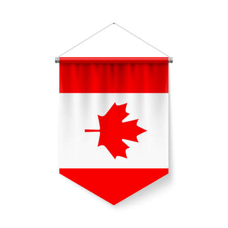 Vertical Pennant Flag of Canada as Icon on White with Shadow Effects. Patriotic Sign in Official Color and Flower Canadian Flag with Metallic Poles Hanging on the Rope Ilustração