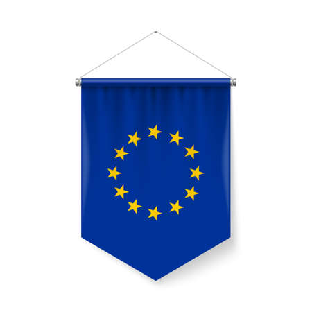 Vertical Pennant Flag of European Union as Icon on White with Shadow Effects. Patriotic Sign in Official Color and Flower EU Flag with Metallic Poles Hanging on the Rope