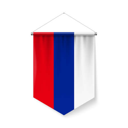 Vertical Pennant Flag of Russian Federation as Icon on White with Shadow Effects. Patriotic Sign in Official Color and Flower Russian Flag with Metallic Poles Hanging on the Rope