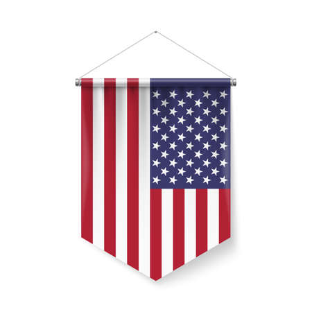 Vertical Pennant Flag of USA as Icon on White with Shadow Effects. Patriotic Sign in Official Color and Flower American Flag with Metallic Poles Hanging on the Rope Vettoriali