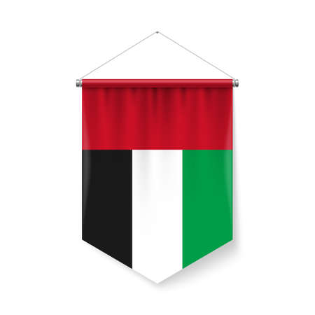 Vertical Pennant Flag of United Arab Emirates as Icon on White with Shadow Effects. Patriotic Sign in Official Color and Flower Flag with Metallic Poles Hanging on the Rope design Vectores