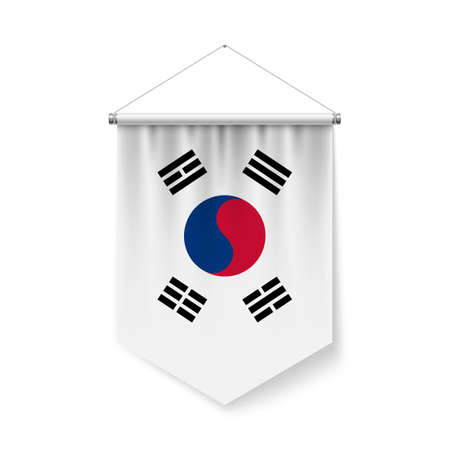 Vertical Pennant Flag of South Korea as Icon on White with Shadow Effects. Patriotic Sign in Official Color and Flower South Korean Flag with Metallic Poles Hanging on the Rope