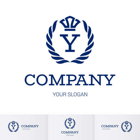 Illustration of Luxury Vintage Crest Logo with letter Y in the Middle and Luxury Crown. Calligraphic Royal Emblems and Elements Logo Icon Template on White Background