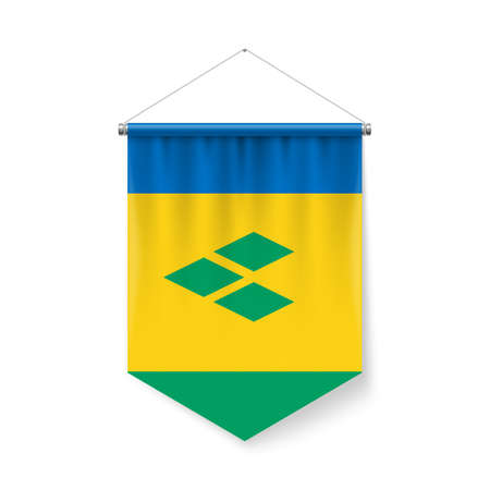 Vertical Pennant Flag of Saint Vincent and the Grenadines as Icon on White Background with Shadow Effects. Patriotic Sign in Official Color and Flower Flag with Metallic Poles Hanging on the Rope Ilustração