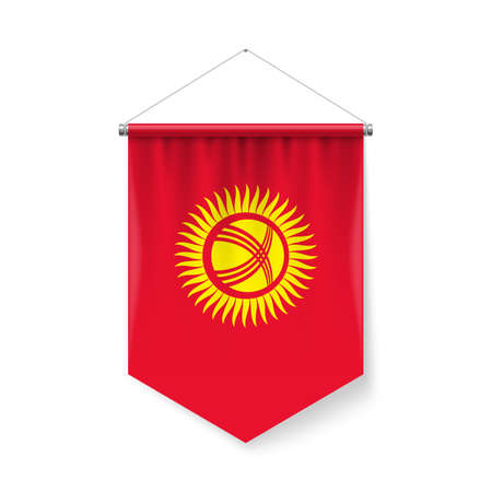 Vertical Pennant Flag of Kyrgyzstan as Icon on White with Shadow Effects. Patriotic Sign in Official Color Scheme, Kyrgyz flag