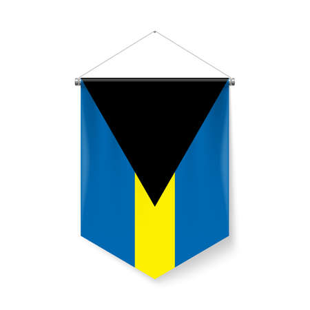 Vertical Pennant Flag of the Bahamas as Icon on White Background with Shadow Effects. Patriotic Sign in Official Color Scheme, Bahamian Falg Ilustração