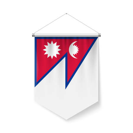 Vertical Pennant Flag of Nepal as Icon on White Background with Shadow Effects. Patriotic Sign in Official Color Scheme, Nepalese Falg