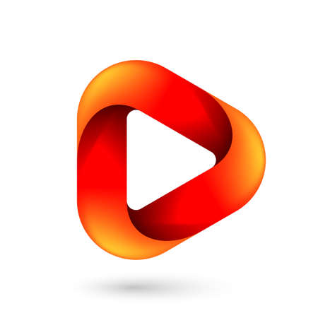 Media Play Icon for Technology Design with Orange Style Concept. Template Digital symbol Company with Player Concept. Movie Icon for Business, Play icon with Rounded Corners on White Ilustração