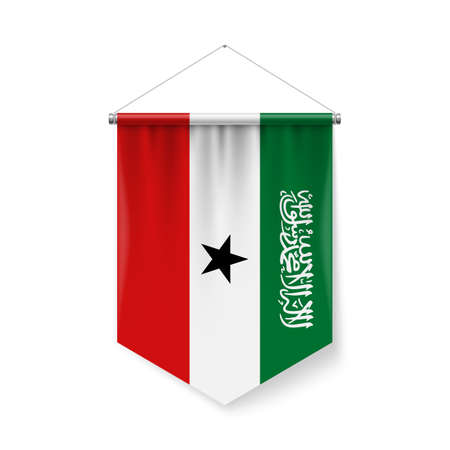 Vertical Pennant Flag of Somaliland as Icon on White Background with Shadow Effects. Patriotic Sign in Official Color Scheme, Flag with Metallic Poles Hanging on the Rope Ilustração