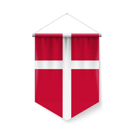 Vertical Pennant Flag of Denmark as Icon on White Background with Shadow Effects. Patriotic Sign in Official Color Scheme, Danish Falg Ilustração