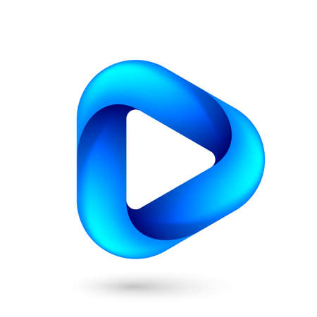 Media Play Icon for Technology Design with Blue Style Concept. Ilustração
