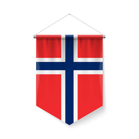 Vertical Pennant Flag of Norway as Icon on White Background with Shadow Effects. Patriotic Sign in Official Color Scheme, Norwegian Falg