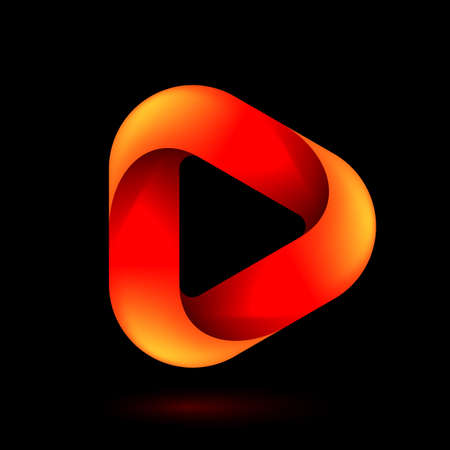 Media Play Icon for Technology Design with Orange Style Concept.