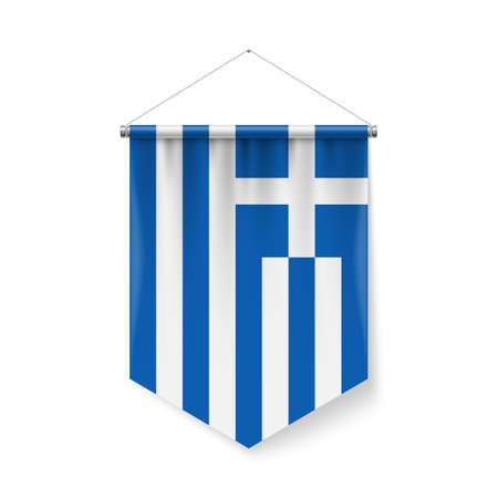 Vertical Pennant Flag of Greece as Icon on White Background with Shadow Effects. Patriotic Sign in Official Color Scheme, Greek Falg Ilustração